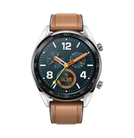 Huawei Watch GT stainless steel with saddle brown leather silicone strap 46mm (FTN-B19)