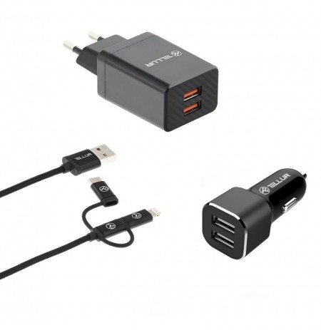 Tellur Travel Charge Kit, wall charger, car charger, 3in1 cable black