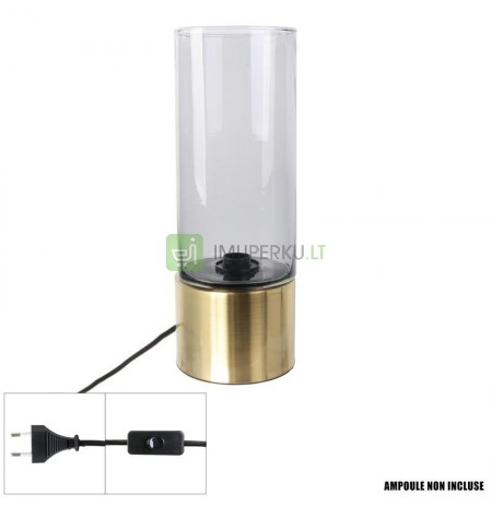 Table lamp glass extends gray golden base