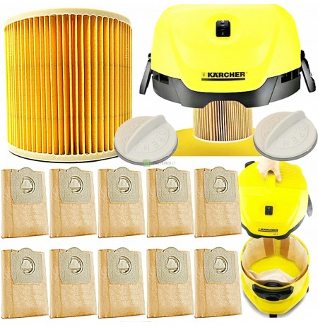 10x BAGS + FILTER OF THE KARCHER WD 3.200 MV VACUUM CLEANER 3