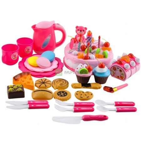 Birthday Cake For Cutting + Kettle Cutlery 80pcs
