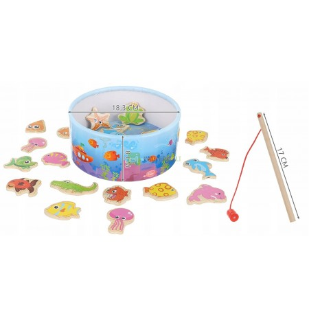 Wooden Game Fishing. Magnet Rods Puzzle