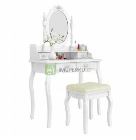 COSMETIC TOILET WITH A MIRROR WHITE + STOOL