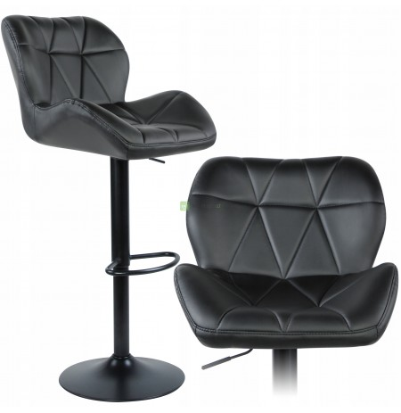 HOKER Bar Chair XXL Quilted Faux Leather BLACK